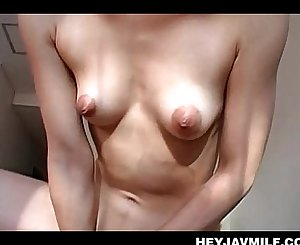 Jap horny MILF leaping loaded shaft like a nasty tramp