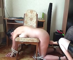 Tickle, spanking, fuck mashine and hitachi tortures for my gimp Kate