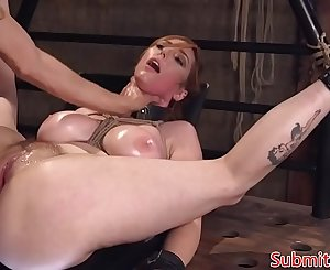 Busty redhead enslaved assfucked in BDSM