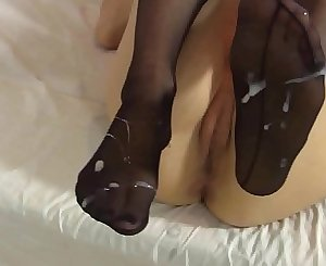 LeluLove Stockings Footjob with Cumshot