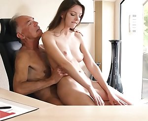 Teen pussy is corded than Viagra pill and makes older boss horny at the office