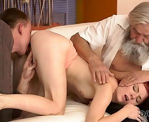 DADDY4K. Dirty boy thumbs GF for cheating on him with horny daddy
