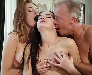 Hot old and young threesome sex during a job interview