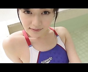 Manami Yamagichi High-cut swimsuit (speedo) blue legs,ass-fetish image movie solo