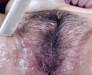 Custom Video - Covering my HAIRY MOUND in lube and combing it in.