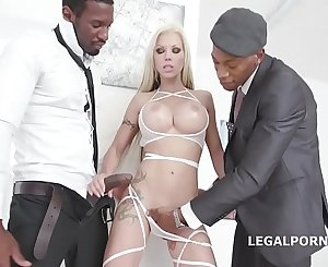 Blonde Goddes Barbie Sins gets 2 BBCs with Big Gapes, Nutsack Deep Anal invasion & DAP