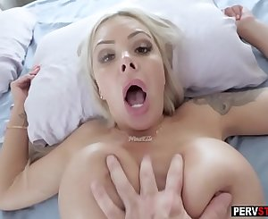 Busty MILF stepmom wake up her stepson on the best way