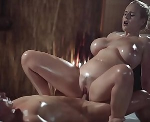 Rubdown Rooms Sexy MILF with huge natural tits gives oily titwank