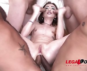 Super Petite intense nymphomaniac Jessi Empera 5on1 extreme ganbang drenched with Cum!